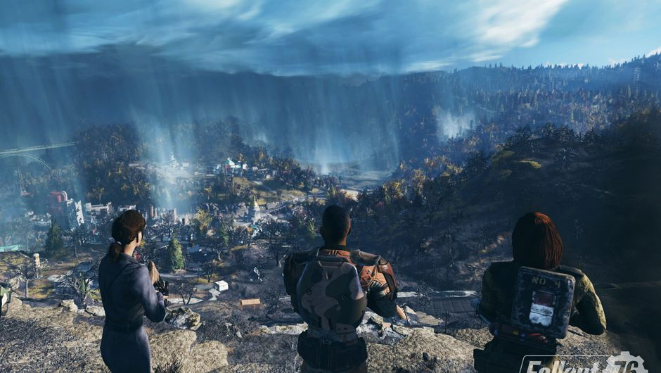 Picture of three people looking at Appalachia in Fallout 76