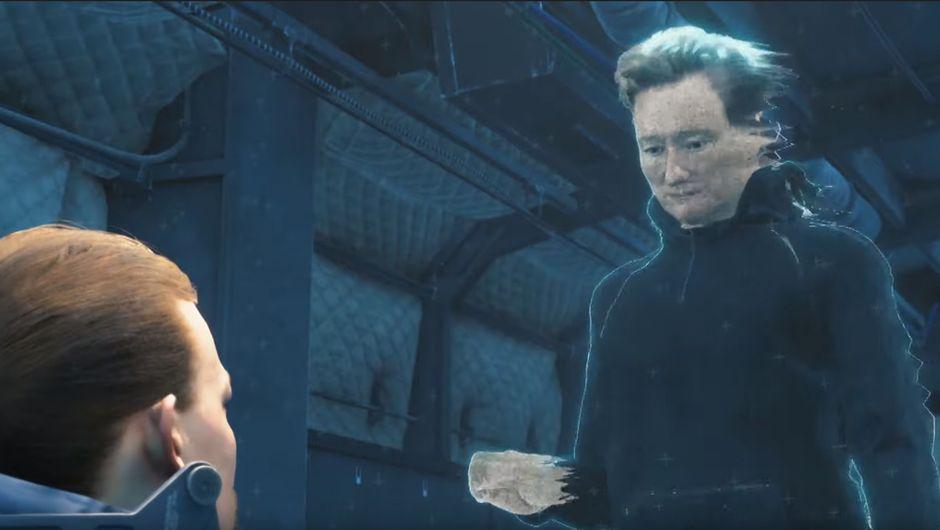 screenshot showing Conan O'Brien in Death Stranding
