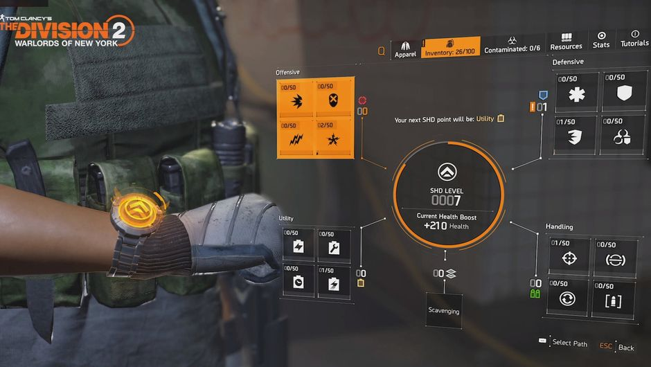 The Division 2 - Shade level progression