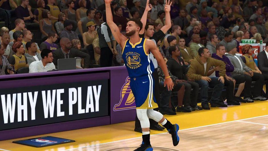 Steph Curry celebrating a shot in NBA 2K20.