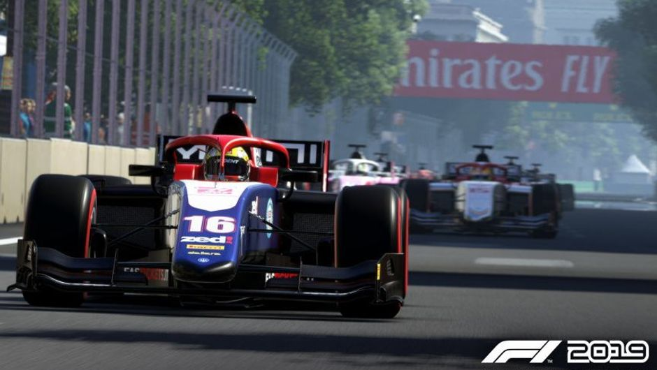 f1 2019's screenshot showing formula 2 cars in a race