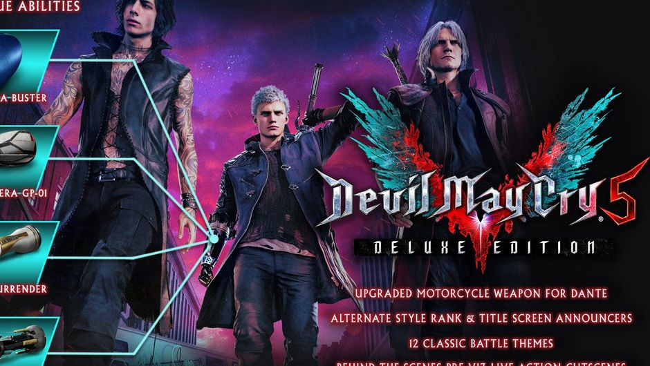 Picture of Dante, Nero and V in Devil May Cry 5