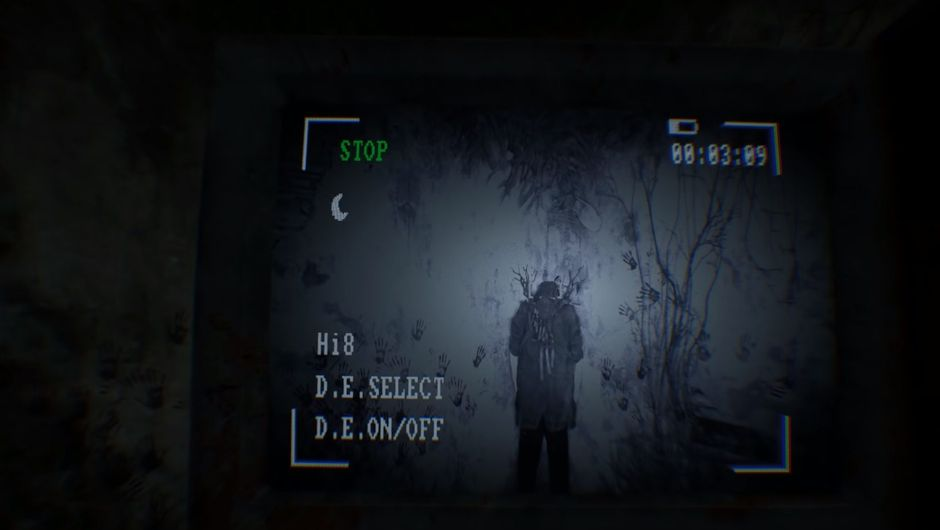 screenshot from blair witch showing a mysterious creature in a corner of a room