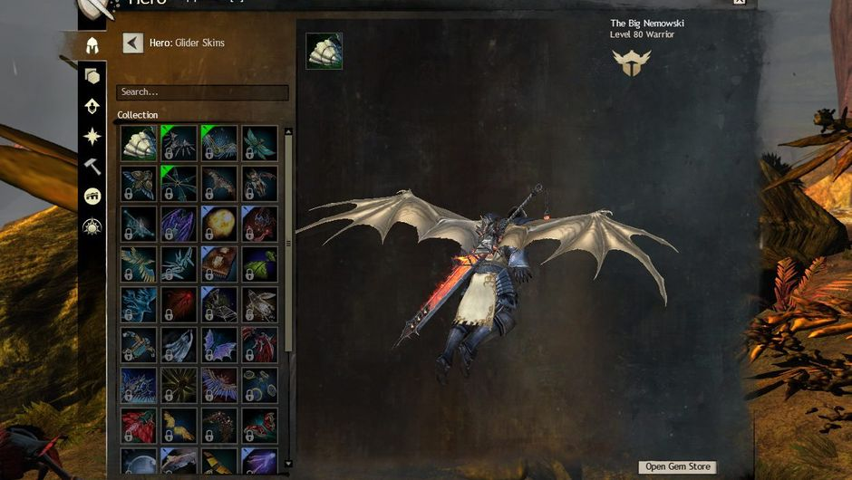 Picture of a character in Guild Wars 2 with a scaled dragon wings glider