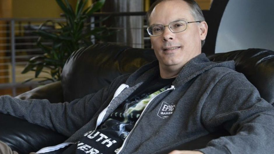 photo showing epic games ceo tim sweeney in a gray hoodie