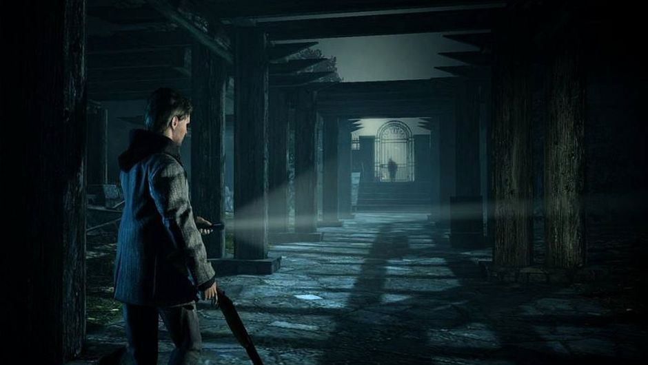Picture of some person with a gun in a rather creepy environment