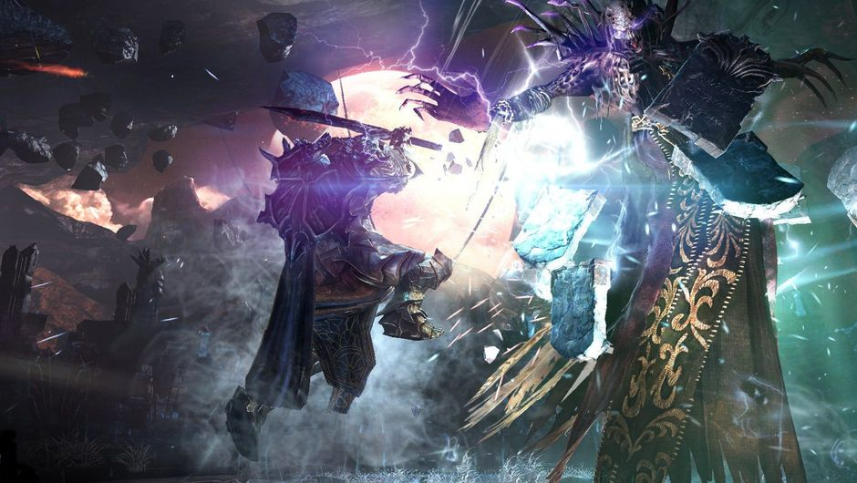 Protagonist is fighting some giant monster in Lords of the Fallen