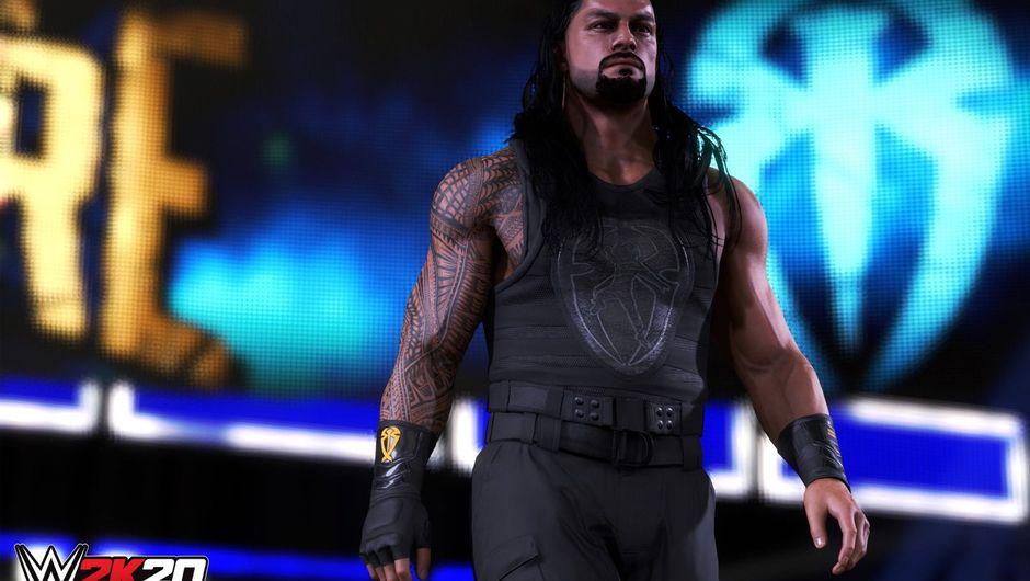 WWE 2K20 screenshot showing a male wrestler in black gear
