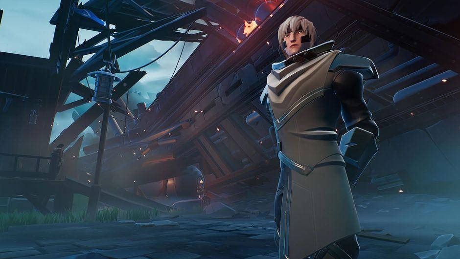 dauntless screenshot showing a character in gray suit