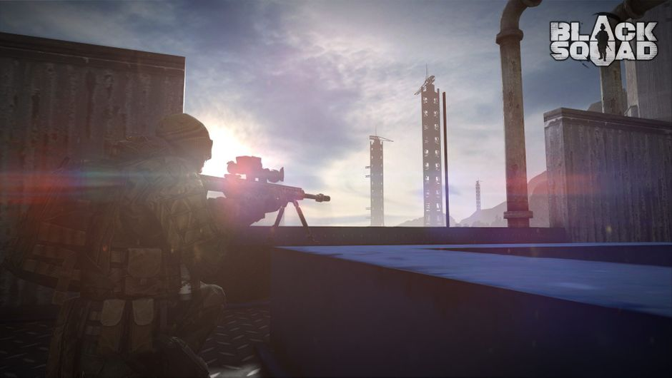 A player is sniping people off from the top of a building in Black Squad