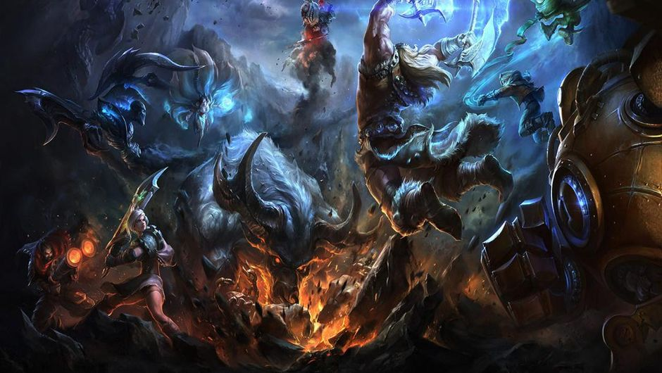 League of Legends champions brawling in a field