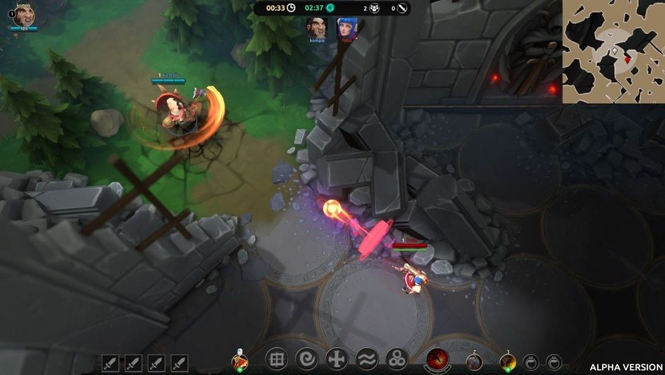 Picture of a tiny champion and some other creature in Battlerite Royale