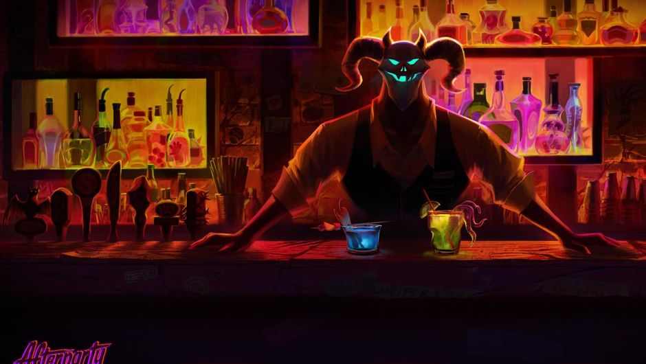 Painted Satan standing behind a bar like a bartender