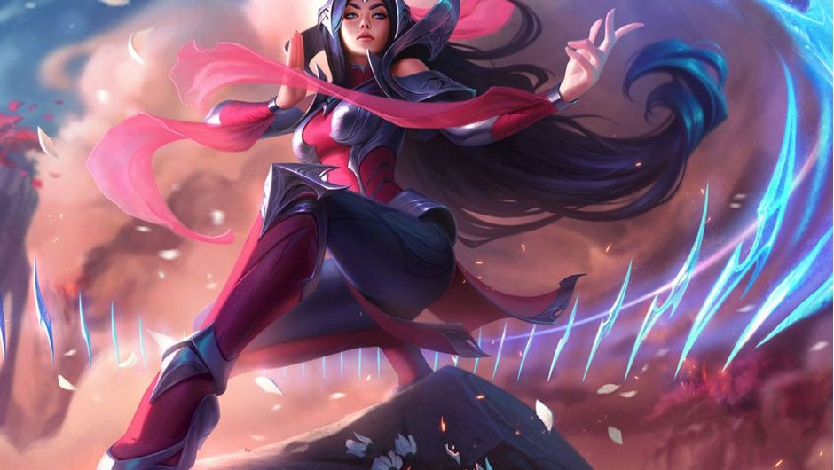 Irelia posing with her blades dancing around her on top of a hill.