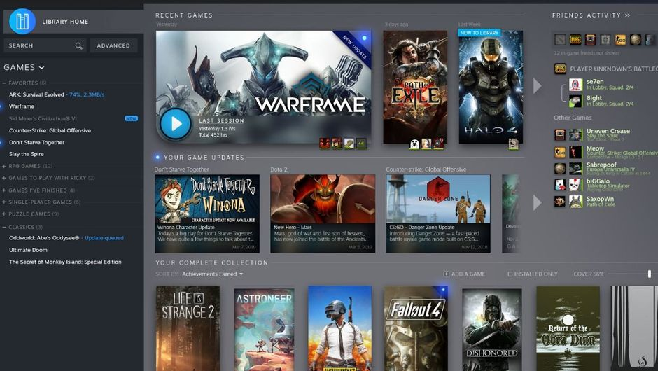 Picture of the new look of the Steam Library