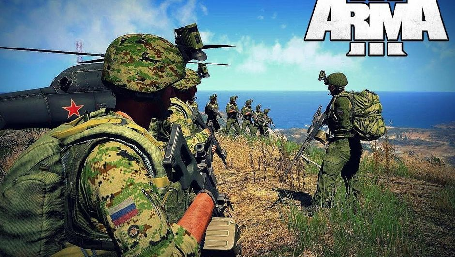 Soldiers around a helicopter in ARMA 3