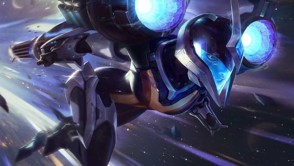Splash art of the first available skin for Ka'isa in League of Legends seems to be a high tech suit in blue and gray shades.