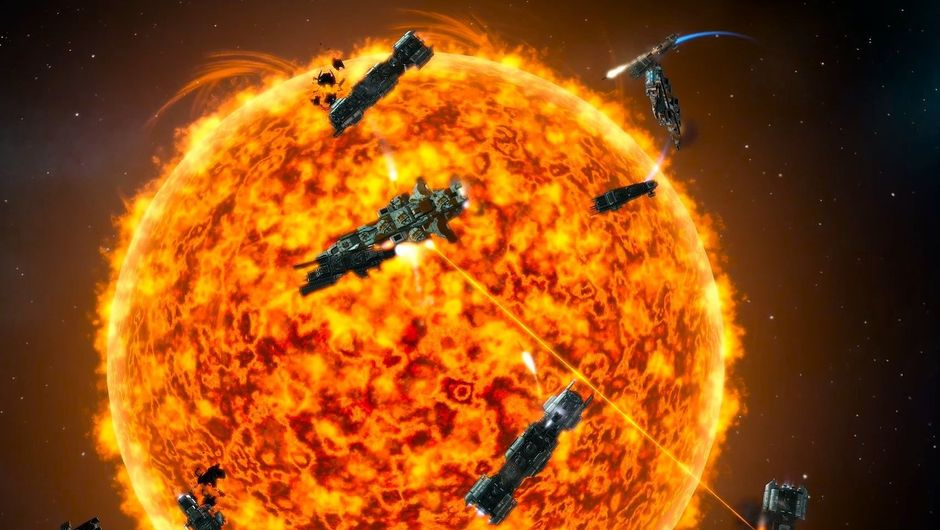 Picture of some ships dangerously close to a star