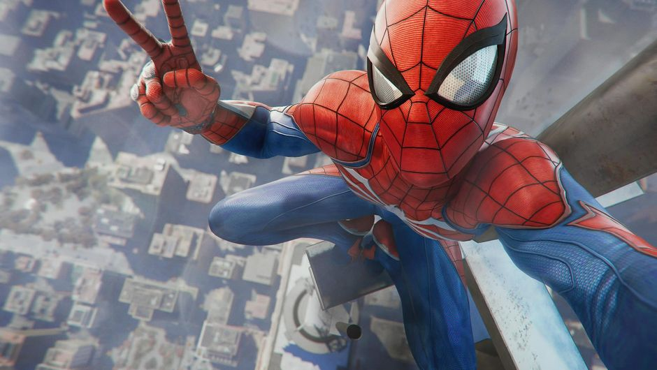 Spider-man taking a selfie on top of a tower