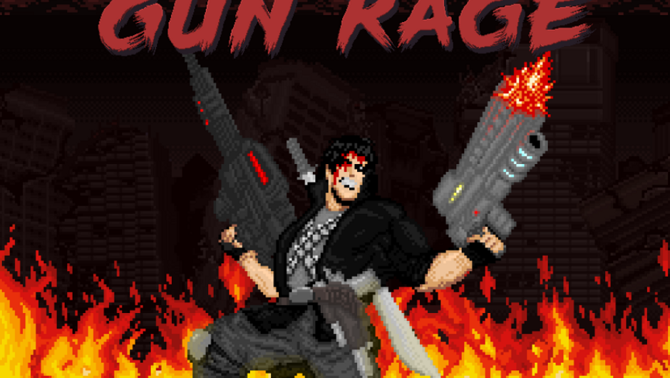 Promotional image for Gun Rage showing the action hero with two guns while standing in flames.