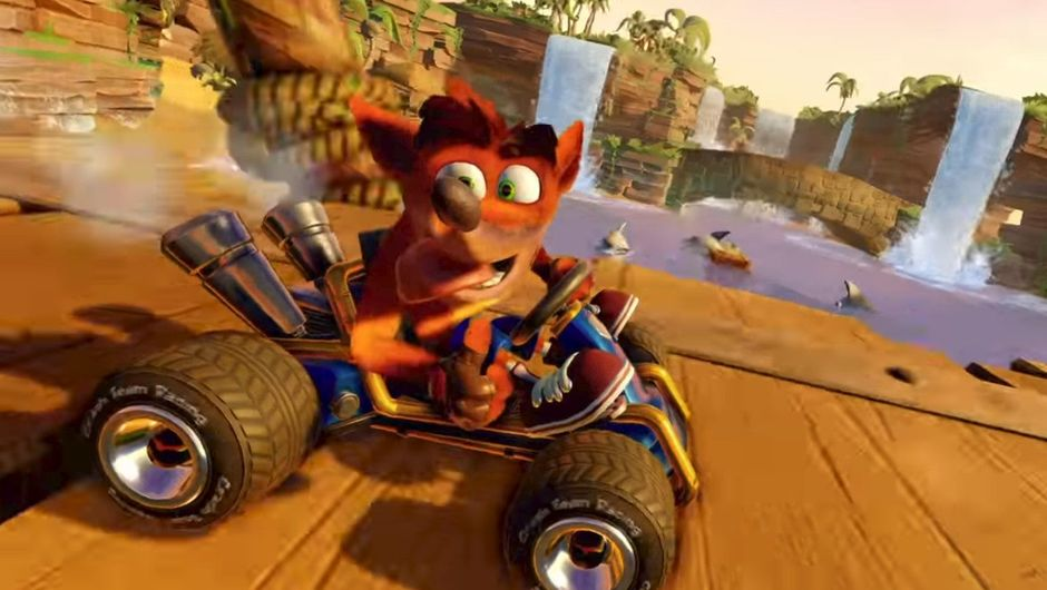 Picture of Crash being a lunatic in Crash Team Racing: Nitro-Fueled