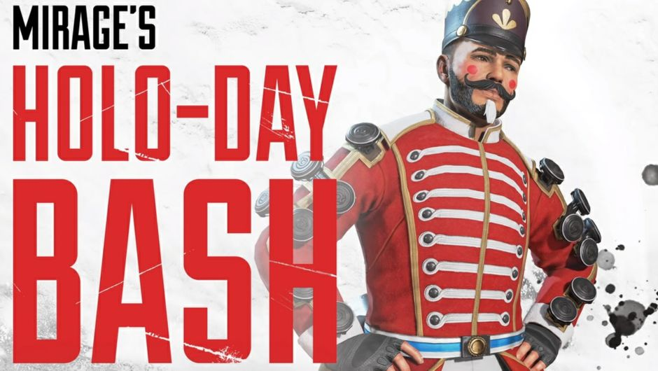 Key art for Mirage's Holo-Day Bash limited time event in Apex Legends.