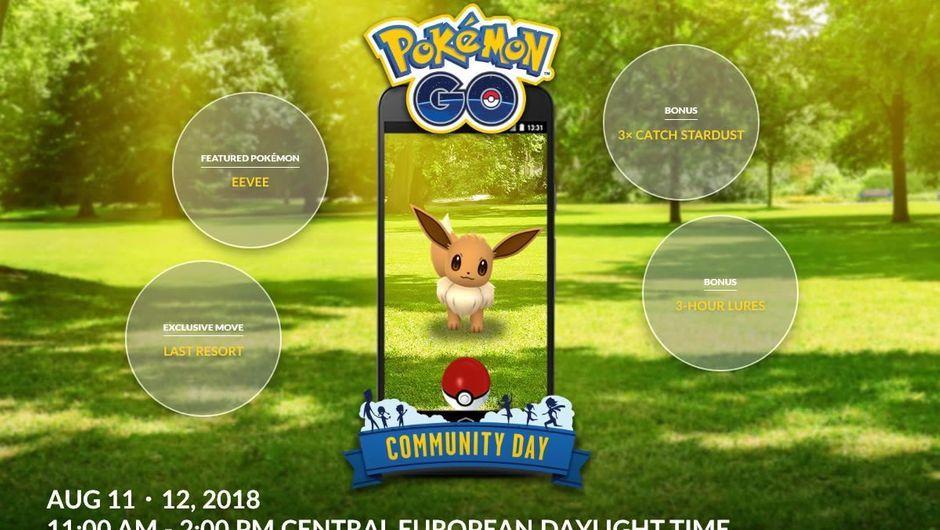Poster for Pokemon GO Community Day on 11 and 12 August 2018