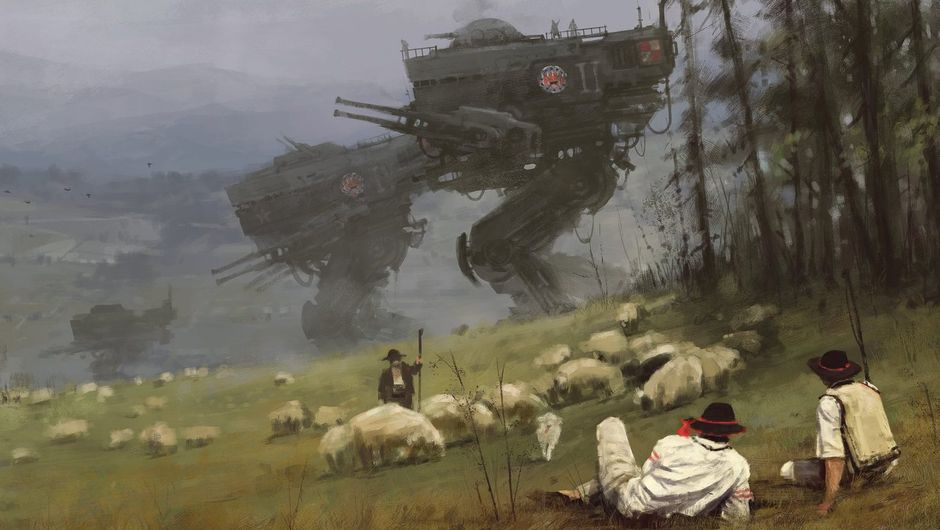 A painting depicting shepperds herding sheep with a large mech in the background