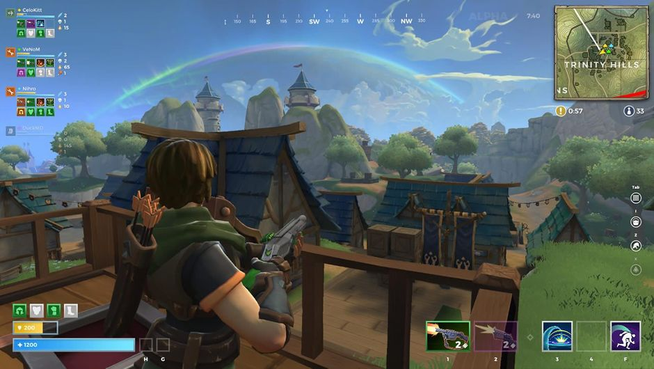 Realm Royale female hero looking at medieval village