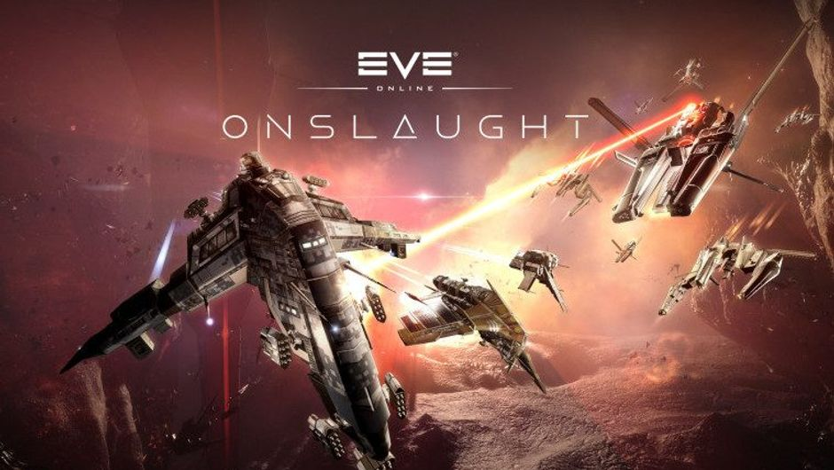 picture showing spaceships with eve online logo above them