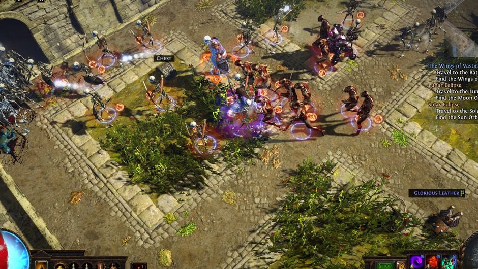 Path of Exile character running surrounded by zombies and auras