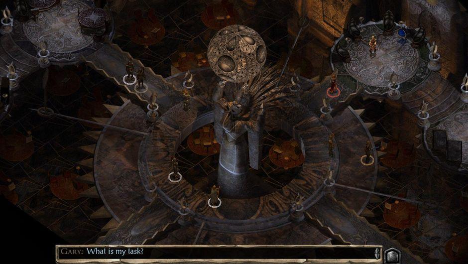 Screenshot from Baldur's Gate II: Enhanced Edition showing a dark interior