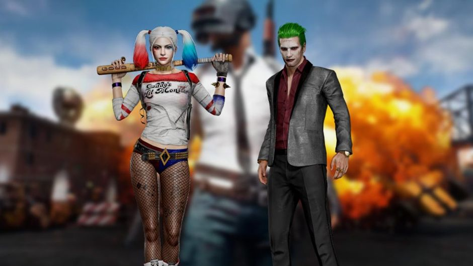 picture showing harley quinn and joker on pubg background