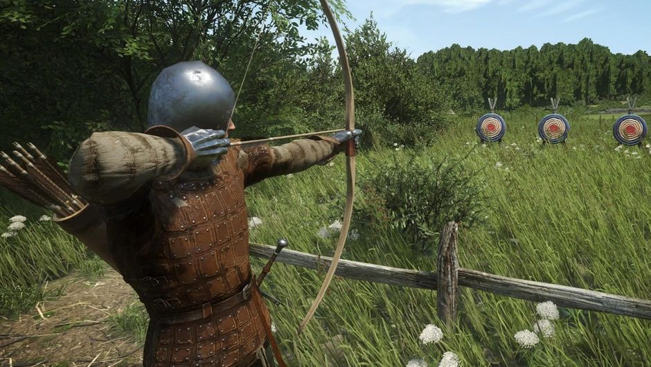 A medieval archer shooting at targets in Kingdom Come: Deliverance