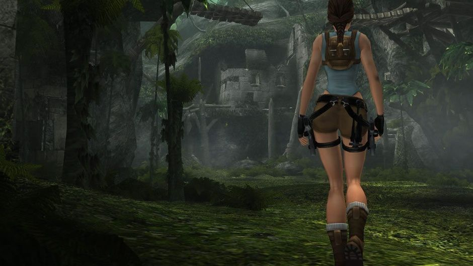 Tomb Raider protagonist Lara Croft walking among ancient ruins