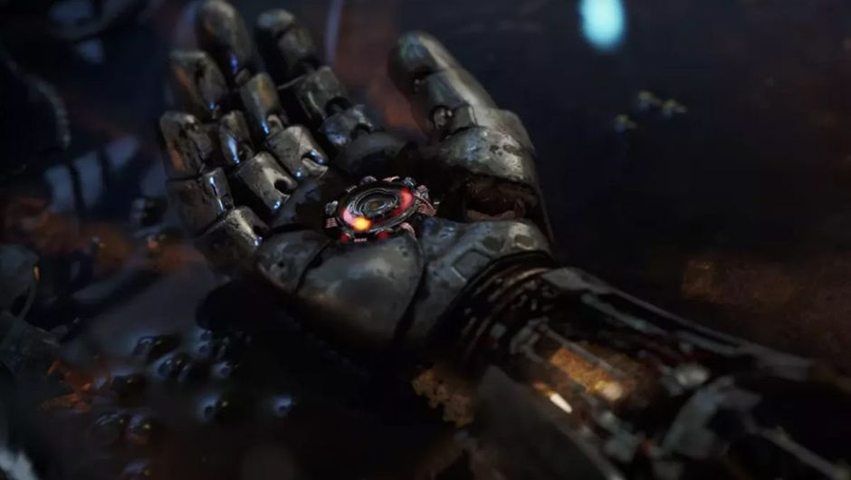 avengers screenshot showing iron mans arm in dust
