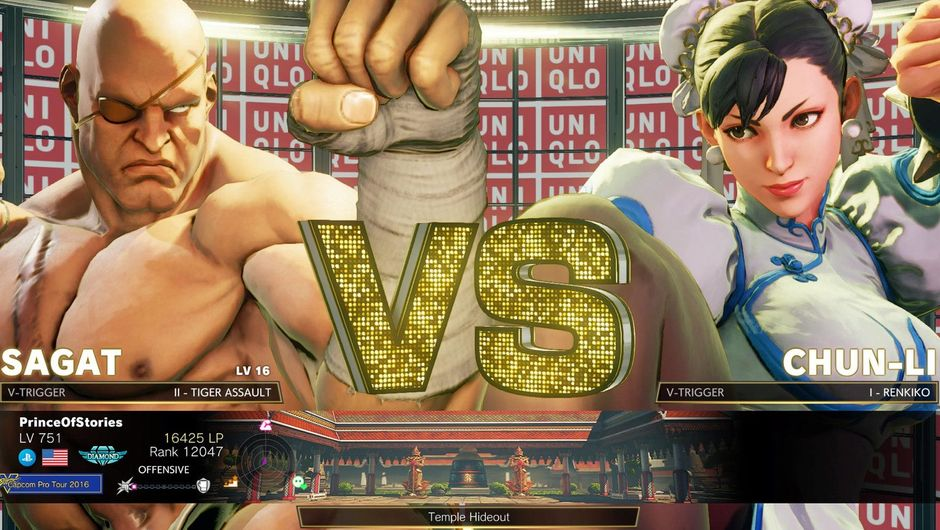 Picture of a versus screen between Sagat and Chun Li