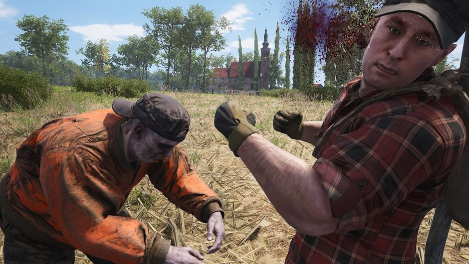 A zombie attacking a man in a large corn field in SCUM