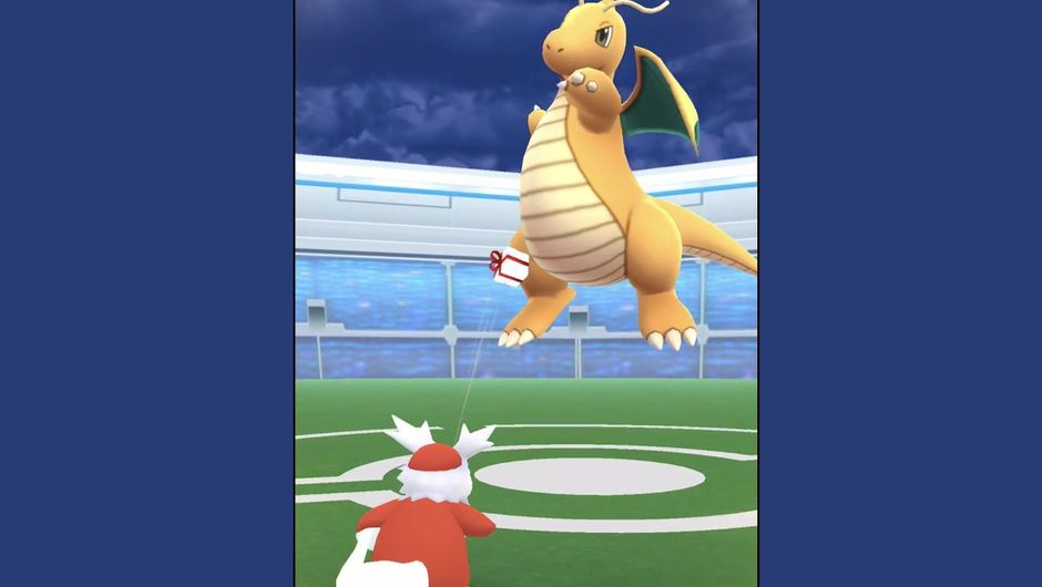 Delibird throws a present at Dragonite in Pokemon GO