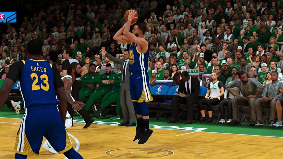 Steph Curry shooting a three-pointer against the Boston Celtics.