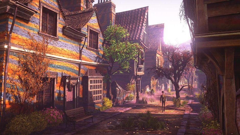 A man walking through a derelict neighbourhood in We Happy Few