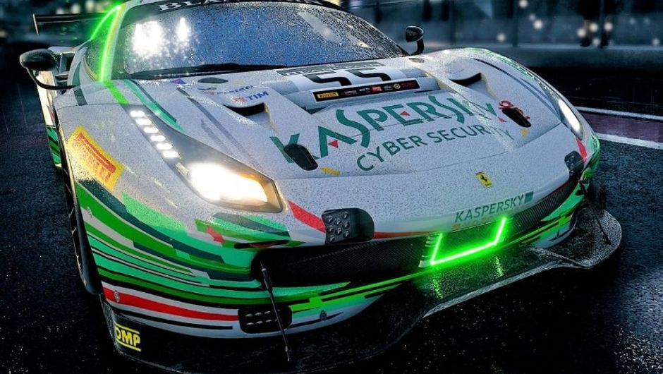 Assetto Corsa Competizion promotional image of green and white car with neon place