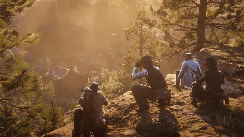 Several characters on a ridge in Red Dead Redemption 2