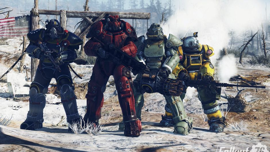 Picture of four weirdos in oddly coloured power armour