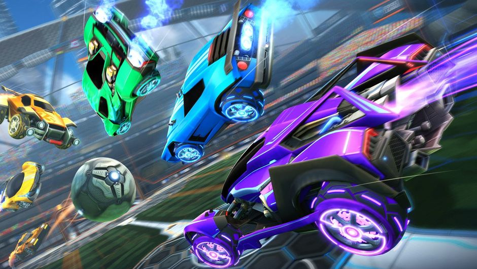 Picture of several vehicles in Rocket League chasing a ball