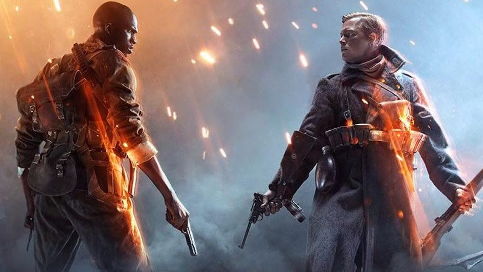 Promotional image from Battlefield 1 showing a black american soldier in a stand-off with a blond german soldier.