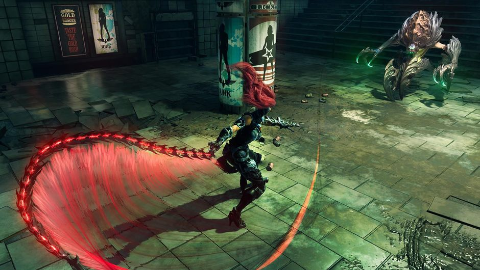 Female protagonist of Darksiders 3 flailing a whip