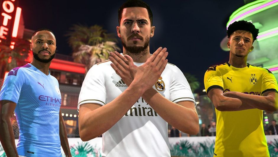 FIFA 20 screenshot showing three players