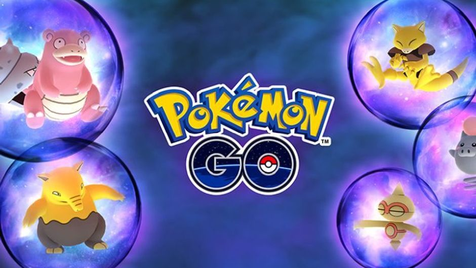 Pokemon go logo surrounded by pokemon trapped in psychic bubbles