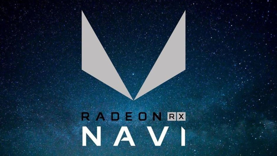 artwork showing a logo of amd radeon navi on a dark blue background